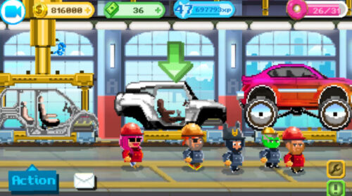 Motor World Car Factory - is a game in which you have to take the lead over a small car - a construction company and develop it to the size of an auto giant. The game combines a number of genres, a simulator, an economic strategy, a casual game, your duties will include a number of tasks, from choosing the car that will be produced to selling the products and you will be able to take part in the entire process of creating the car. This simulator is made in a pleasant retro style, which is quite rare in games of this genre.